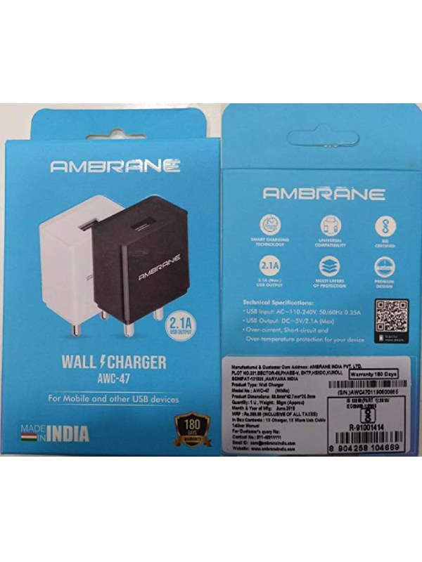 Ambrane AWC-47 2.1Amp Micro USB Turbo Fast Wall Ch 3